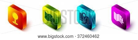 Set Isometric Push Pin, Folded Map With Push Pin, Monitor With Location Marker And Folded Map With P
