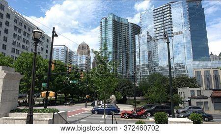 Street View With Modern Glass Buildings In Atlanta Midtown - Atlanta, Georgia - April 22, 2016