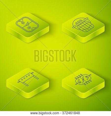 Set Isometric Hockey Helmet, Hockey Table, Hockey Table And Air Hockey Table Icon. Vector