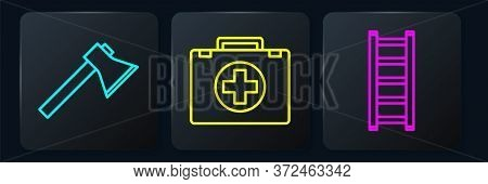 Set Line Firefighter Axe, Fire Escape And First Aid Kit. Black Square Button. Vector