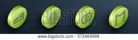 Set Isometric 3d Cinema Glasses, Cinema Ticket, Cinema Ticket And Carpet With Barriers Icon. Vector