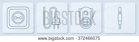 Set Line Electrical Outlet, Electrical Outlet, Electric Plug And Audio Jack. White Square Button. Ve