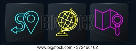 Set Line Route Location, Search Location And Earth Globe. Black Square Button. Vector