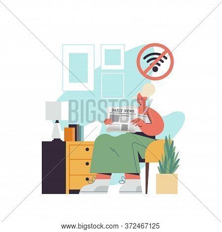 Woman Sitting In Armchair Reading Newspaper Digital Detox Offline Activities Concept Girl Spending T