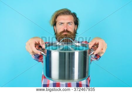 Crazy Chef. Man With Saucepan. Happy Man Chef With Pot. Saucepan. Cooking. Kitchenware. Cooking Uten