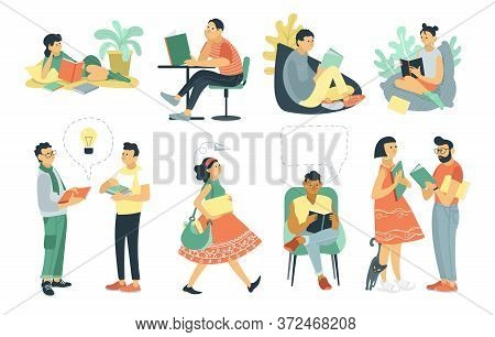 Vector Flat Cartoon Illustration. A Group Of People Read And Discuss Books. Students Prepare For Exa