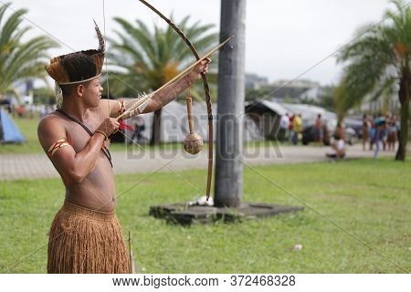 Salvador, Bahia / Brazil - May 29, 2017: Indians From Various Bahia Tribes And Ethnic Groups Camp In