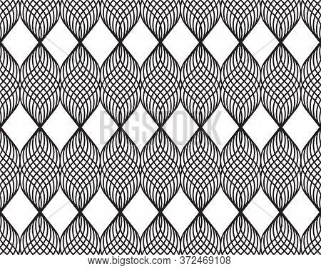 Design Geometric Abstract Vector Seamless With Monochrome Crossing Wale Lines Pattern. Lace Making,