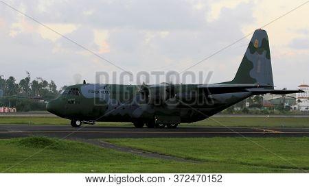 Salvador, Bahia / Brazil - July 6, 2014: C-130 Hercules Of The Brazilian Air Force (fab) Prepares T