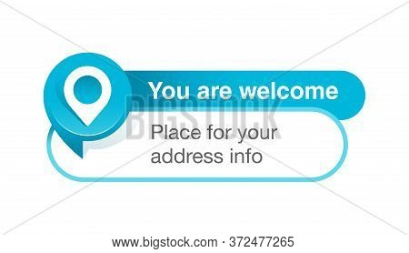 Address Block Template For Website Or Banner - Creative Decorated Frame With Geo Location Pin (marke