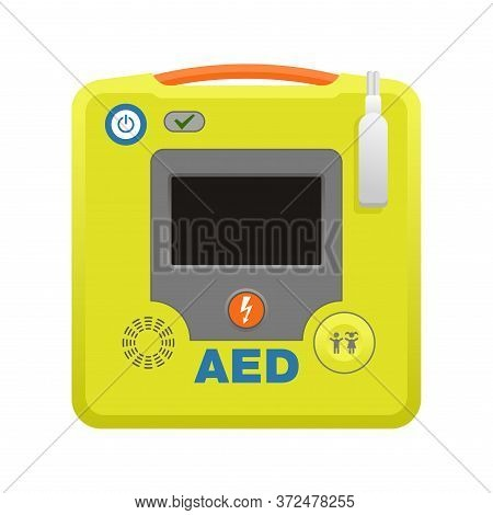 Automated External Defibrillator Aed Icon -  Isolated Vector Medical Equipment