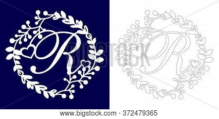 Vector Wedding Initial Monogram For Laser Cutting. Letter R Of The Decorative Monogram In A Floral F