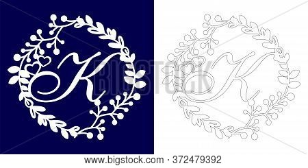 Vector Wedding Initial Monogram For Laser Cutting. Letter K Of The Decorative Monogram In A Floral F