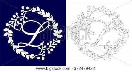 Vector Wedding Initial Monogram For Laser Cutting. Letter L Of The Decorative Monogram In A Floral F