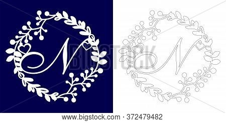 Vector Wedding Initial Monogram For Laser Cutting. Letter N Of The Decorative Monogram In A Floral F