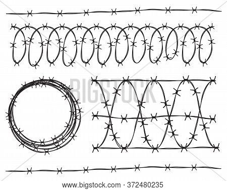 Set Of Vector Barbed Wire Elements For Your Design