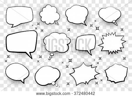 Set Of Comic Style Speech Bubbles For Your Design. Vector Illustration.