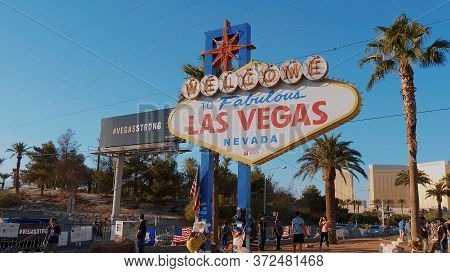 Tourists Visit The Welcome To Las Vegas Sign On Las Vegas Boulevard - Las Vegas-nevada - October 11,