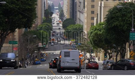 Street View In Downtown Los Angeles - Los Angeles, Usa - March 18, 2019