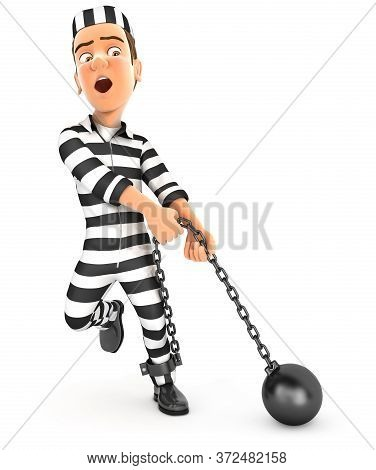 3d Convict Trying To Lift Ball And Chain, Illustration With Isolated White Background