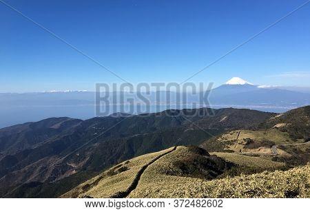 Mt.fuji And Suruga Bay In Winter Season Seen From Top Of Mt.darumayama , Izu , Shizuoka Prefecture