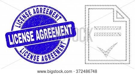 Web Mesh Agreement Page Pictogram And License Agreement Seal Stamp. Blue Vector Rounded Scratched Se
