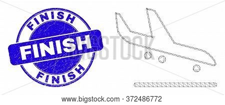 Web Mesh Airplane Arrival Pictogram And Finish Seal Stamp. Blue Vector Round Textured Stamp With Fin