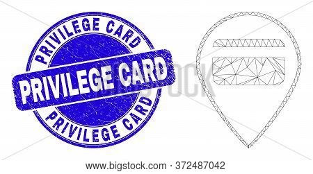 Web Mesh Bank Card Pointer Icon And Privilege Card Seal. Blue Vector Rounded Grunge Seal Stamp With