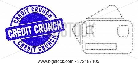 Web Mesh Bank Cards Pictogram And Credit Crunch Seal Stamp. Blue Vector Round Scratched Seal Stamp W
