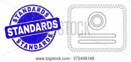 Web Carcass Certificate Icon And Standards Seal Stamp. Blue Vector Rounded Grunge Seal Stamp With St