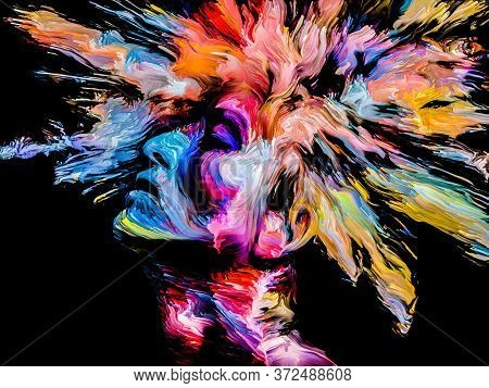 People Of Color Series. Multicolor Abstract Portrait Of Young Woman On Subject Of Creativity, Imagin