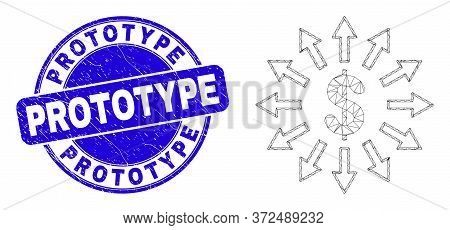 Web Carcass Dollar Emission Pictogram And Prototype Seal Stamp. Blue Vector Rounded Distress Seal St