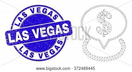 Web Mesh Dollar Placement Pictogram And Las Vegas Seal Stamp. Blue Vector Rounded Textured Seal Stam