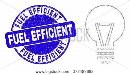 Web Mesh Electric Bulb Pictogram And Fuel Efficient Stamp. Blue Vector Round Scratched Stamp With Fu