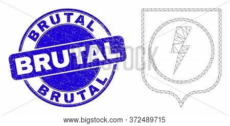 Web Mesh Electric Shield Icon And Brutal Seal Stamp. Blue Vector Rounded Distress Seal Stamp With Br