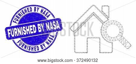 Web Mesh Explore Realty Icon And Furnished By Nasa Seal. Blue Vector Round Scratched Stamp With Furn