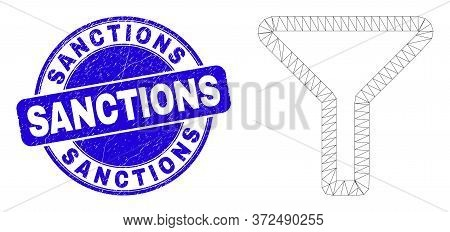Web Mesh Filter Icon And Sanctions Seal Stamp. Blue Vector Rounded Grunge Seal Stamp With Sanctions