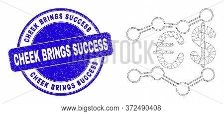 Web Mesh Financial Trends Icon And Cheek Brings Success Seal Stamp. Blue Vector Round Grunge Seal St
