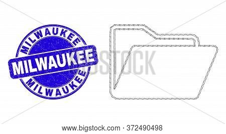 Web Mesh Folder Pictogram And Milwaukee Stamp. Blue Vector Round Grunge Stamp With Milwaukee Message