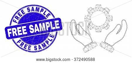 Web Carcass Gear Care Hands Icon And Free Sample Seal Stamp. Blue Vector Round Distress Seal With Fr