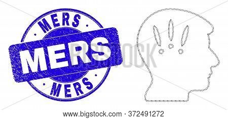 Web Carcass Headache Icon And Mers Watermark. Blue Vector Round Scratched Watermark With Mers Captio