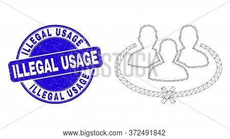Web Carcass Jailed Persons Pictogram And Illegal Usage Seal Stamp. Blue Vector Rounded Distress Seal