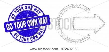 Web Carcass Logout Pictogram And Go Your Own Way Seal. Blue Vector Rounded Textured Seal With Go You