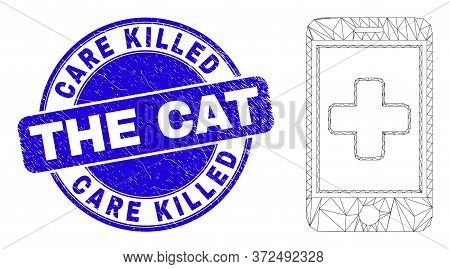 Web Carcass Medical Mobile App Icon And Care Killed The Cat Seal. Blue Vector Round Scratched Seal W