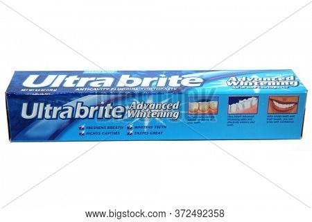 Lake Forest, CA/ June 20, 2020: Ultrabrite Advanced Whitening Toothpaste. Isolated On white. Room for text. Editorial use only. Tooth Paste is used world wide by people for for dental hygiene.