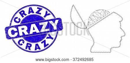 Web Mesh Open Mind Pictogram And Crazy Stamp. Blue Vector Rounded Distress Seal Stamp With Crazy Cap