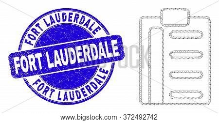 Web Mesh Pad List Items Icon And Fort Lauderdale Watermark. Blue Vector Rounded Grunge Watermark Wit