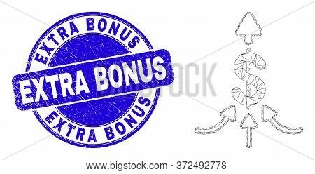 Web Carcass Payment Aggregator Pictogram And Extra Bonus Seal Stamp. Blue Vector Round Textured Seal