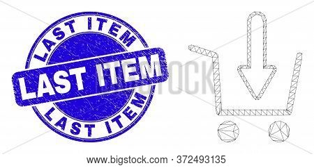 Web Mesh Put Shopping Item Icon And Last Item Stamp. Blue Vector Round Textured Stamp With Last Item