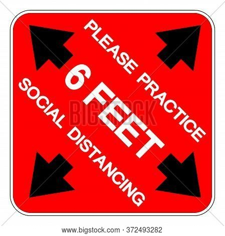 Please Practice 6 Feet Social Distancing Symbol, Vector  Illustration, Isolated On White Background